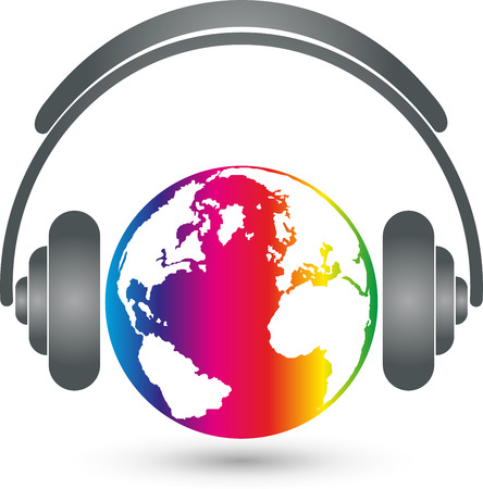 logo music: Earth with headphones, music Logo, Sound