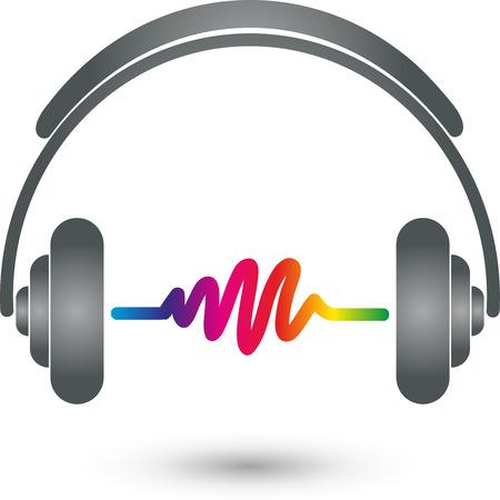 hifi: Headphones and equalizer, HiFi, sound frequencies Illustration