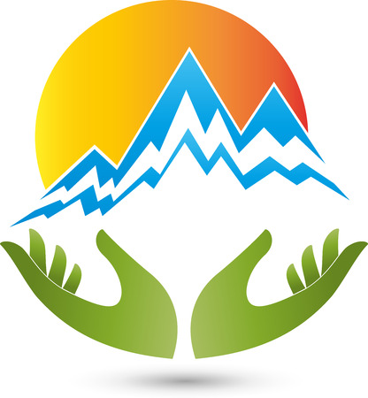 naturopaths: Mountains, sun and hands, Logo