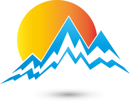 Mountains and sun, logo, travel agency, summit
