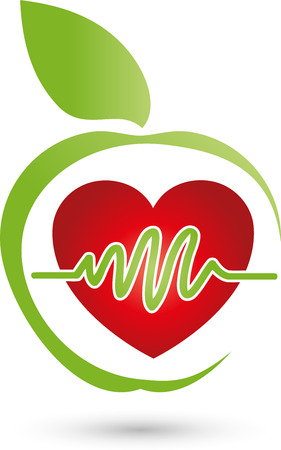 Apple and heart, health, Logo