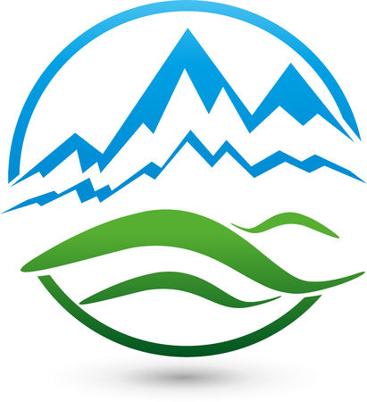 naturopaths: Mountains and meadow, logo, travel agency, hills Illustration