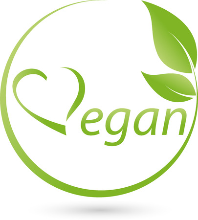 Vegetarian symbol with scrolling, Vegan, heart