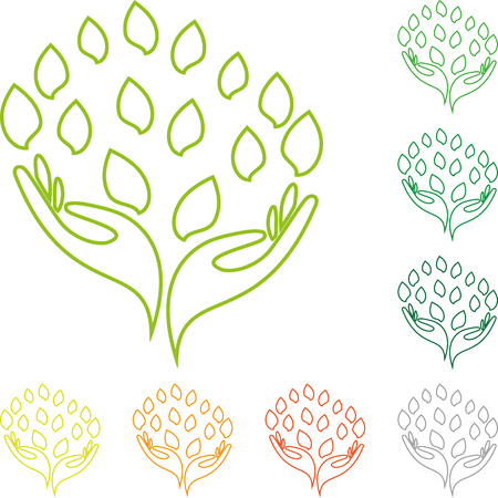 physiotherapy: Logo, hand, leaves, Naturopaths