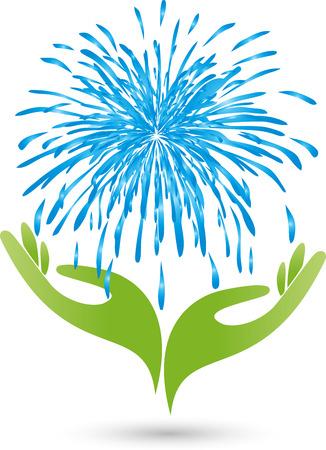 Hands and water, logo, drops, Spa Ilustração
