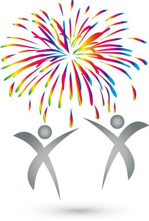 People, fireworks, explosion, Logo