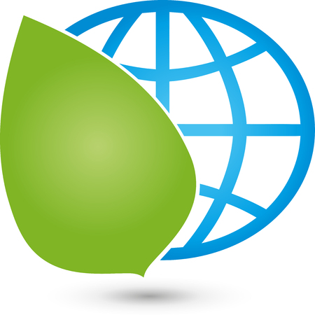 globe logo: Earth and leaf, globe, world globe logo