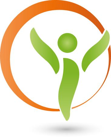 Person and circle, sports medicine, Logo Stock Illustratie
