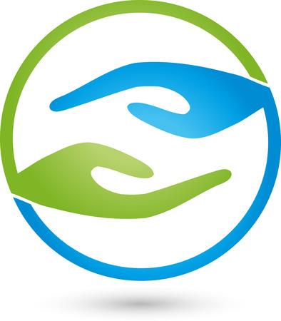 logo medicina: Dos manos logotipo, Masaje