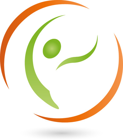 relaxation massage: Person on the move logo, man, medical practitioner