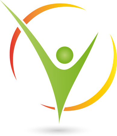 Persona en el logotipo de movimiento, la gente, la aptitud