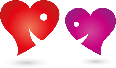 two hearts: Two hearts with smile icon
