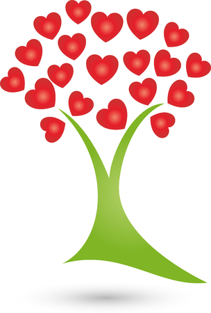 nursing associations: Tree with hearts plant Illustration
