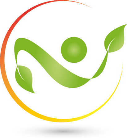 naturopaths: Man with leaves and circle , naturopaths Illustration