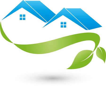 roofer: Two houses and plant,  ecosystem Illustration