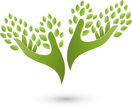 Dos manos y hojas, árbol, Naturópatas Ilustración de vector