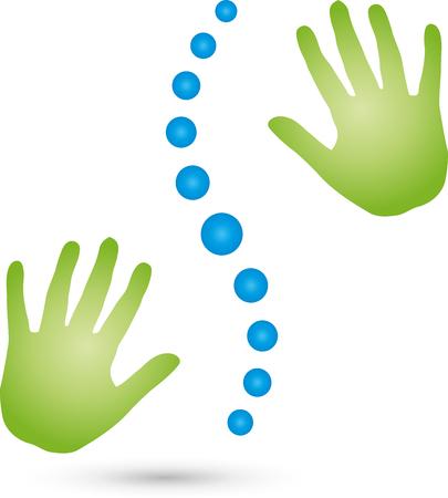 salud y deporte: Dos manos, masaje Vectores