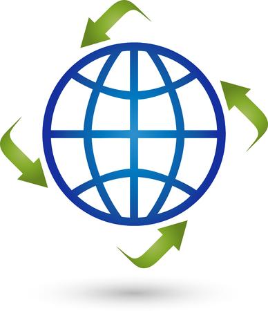 Earth and Arrows , globe, world globe Vektoros illusztráció