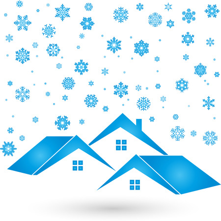 ownership: Three houses, winter, snow,  background