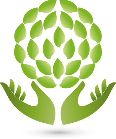 naturopaths: Two hands and leaves, plant, Naturopaths Illustration