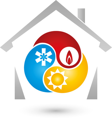 heating engineers: House and three drops of elements Illustration