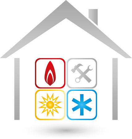 heating engineers: House with three elements and repair icon