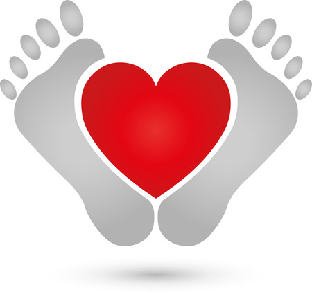 chiropody: Two feet and heart icon