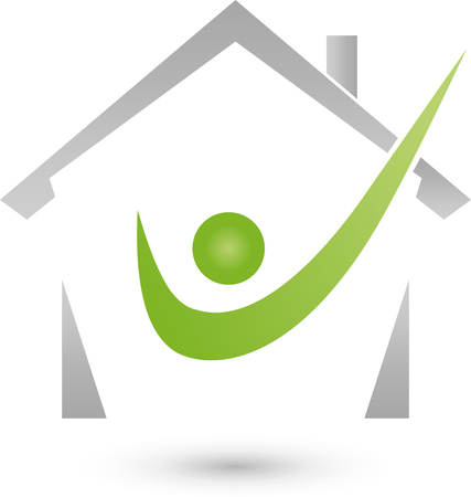 roofer: House and mam icon Illustration