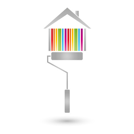 house painter: House and paint roller, painter