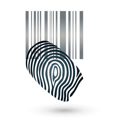 thumbprint: Fingerprint, barcode, bar code Illustration