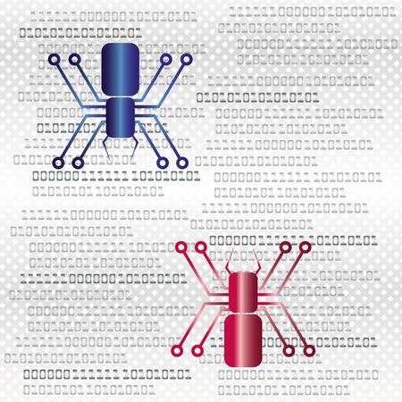 attestation: PC virus, trojan, digital, hacking Illustration