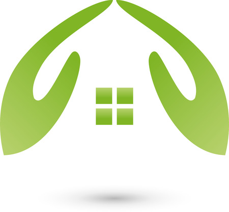 Deux mains comme maison, logo, les courtiers immobiliers