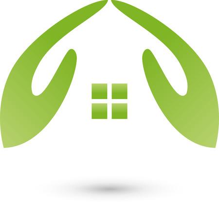 Due mani come Home, logo, agenti immobiliari