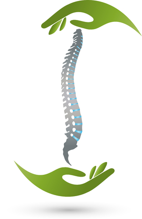 Spine and Two Hands, Orthopedics Logo
