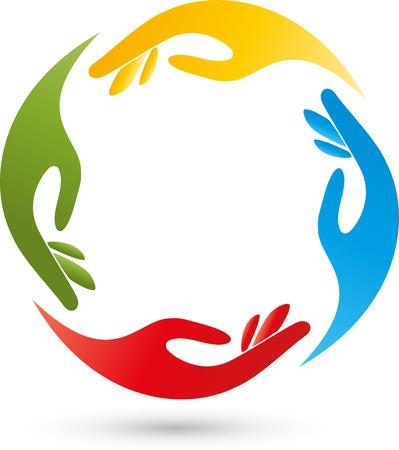 Four hands, helpers, team logo