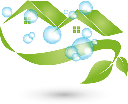 window view: House cleaned, Logo, cleaning, cleaning company Illustration
