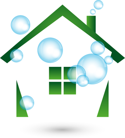 House cleaned, Logo, cleaning, cleaning company  イラスト・ベクター素材