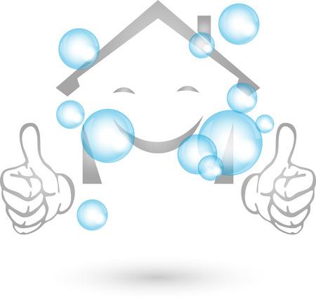 Casa pulita, logo, sorriso, impresa di pulizie
