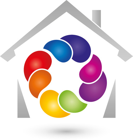 house painter: House and drop, color, painter, icon Illustration