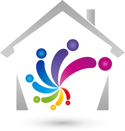 house painter: House and scroll, people, color, painter, icon Illustration