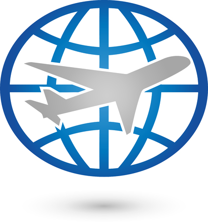 globally: Earth and plane, icon, Globe, Transport Illustration