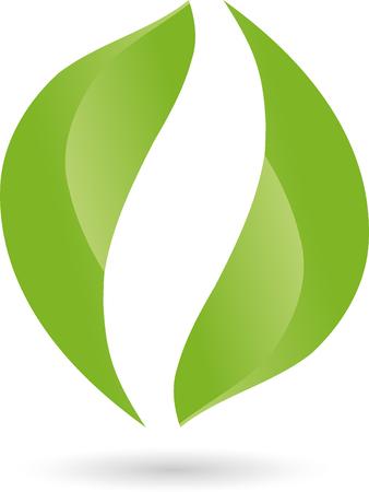 energy healing: Logo, leaves, plant, bio Illustration