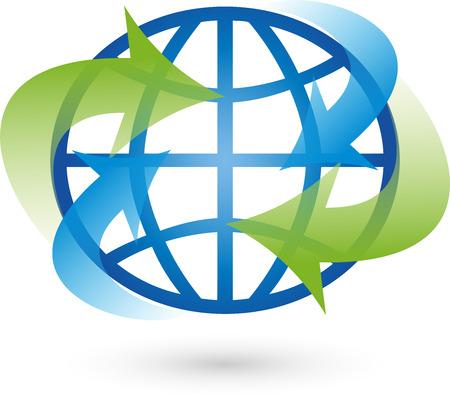 environmental policy: Logo, earth, world globe, vector