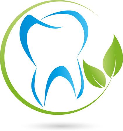 Logo, tand, bladeren, tandarts