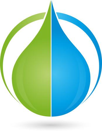 energy healing: Logo, water drops, drops, leaf