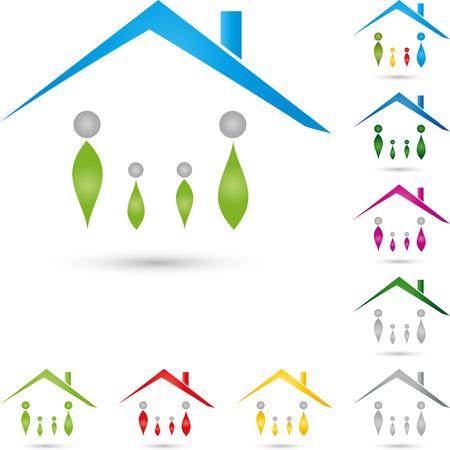 house logo: Logo, property, house, people Illustration