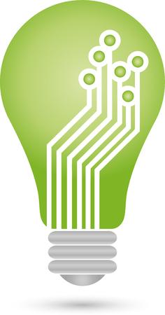 green light bulb: Green light bulb icon