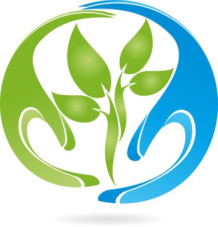 Planta y manos ilustración