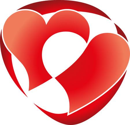 dearest: Two hearts, heart logo Illustration