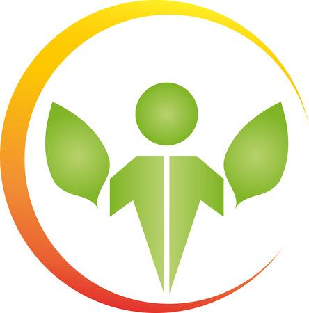 naturopath: Man and leaves, naturopath, sun, illustration Illustration